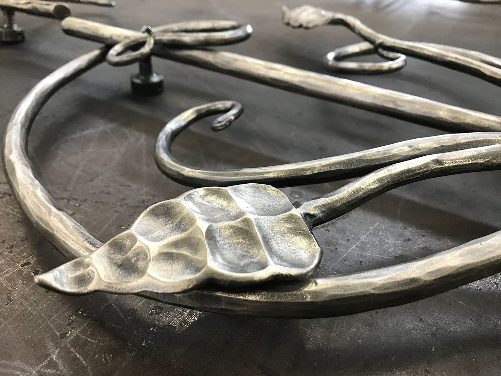 Forged Grape Leaf Detail on Theater Door Handle