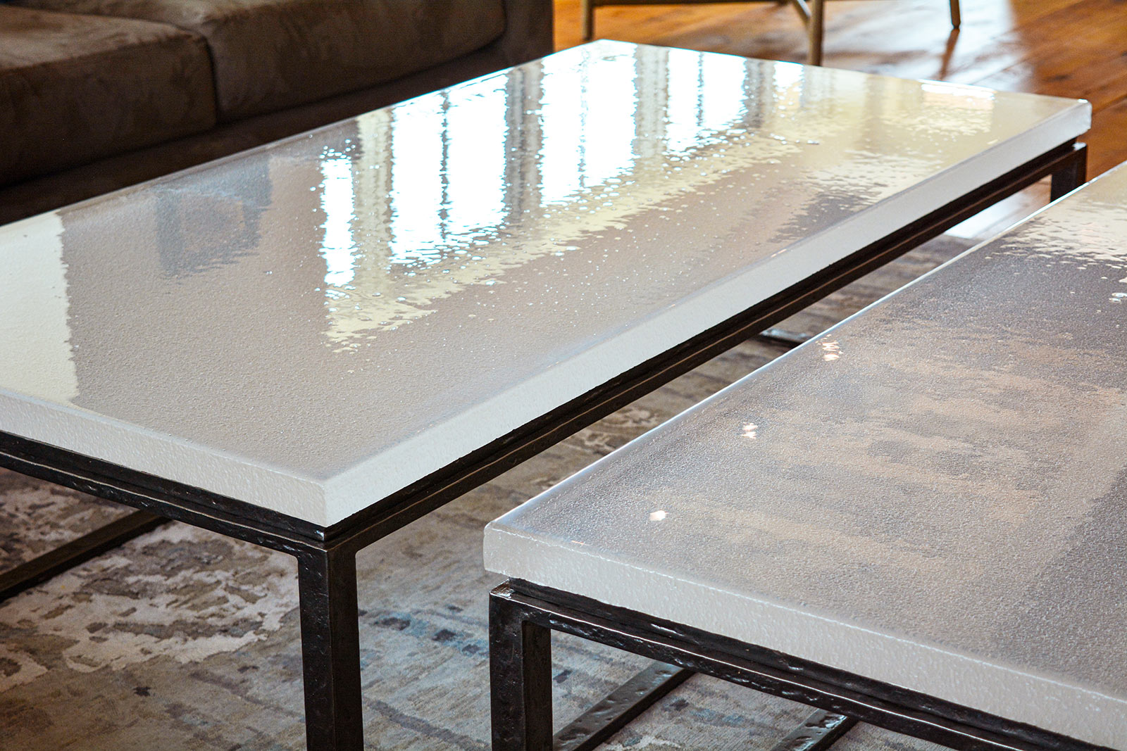 Granby Mountain Coffee Tables with Cast Glass and Forged Base