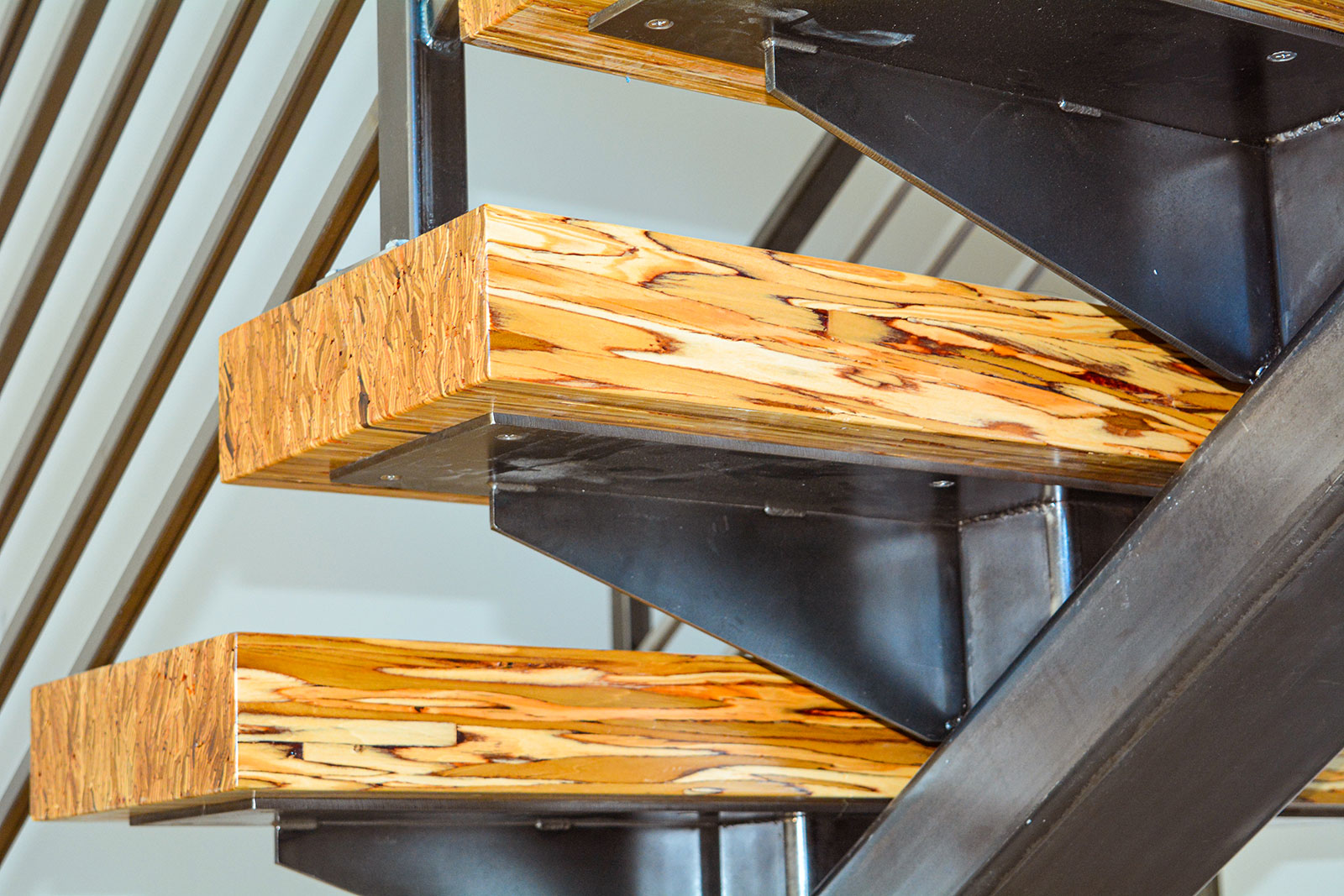 Arvada Custom Floating Stairs Wood and Iron