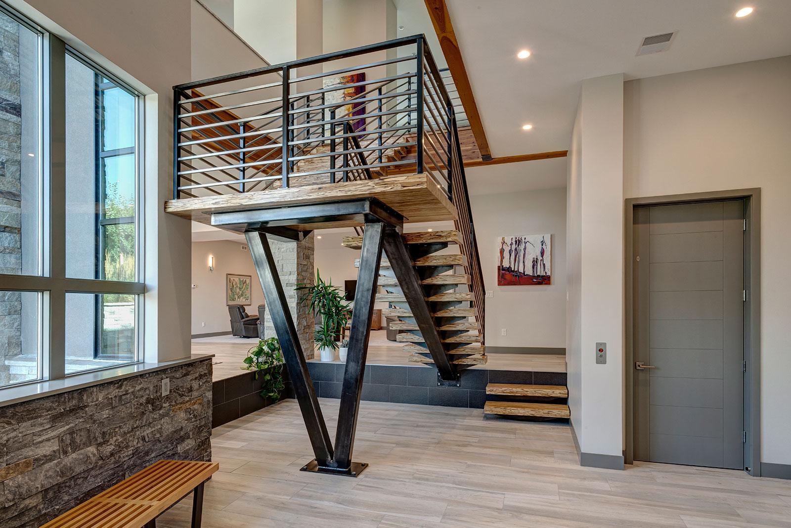 Arvada Modern Custom Floating Stairs