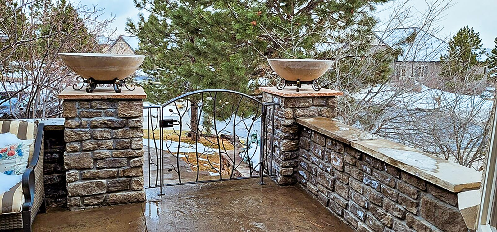 Forged entry gate with custom planters