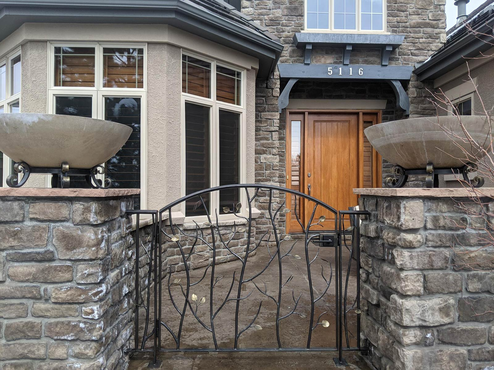 Castle Pines Forged Entry Gate and Planters