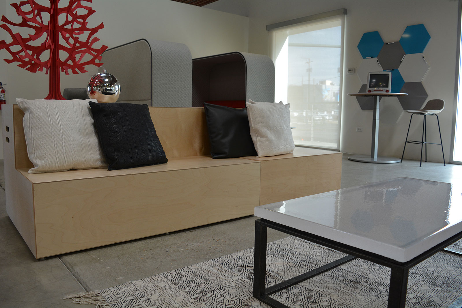 Denver Commercial Coffee Tables Cast Glass with Forged Base