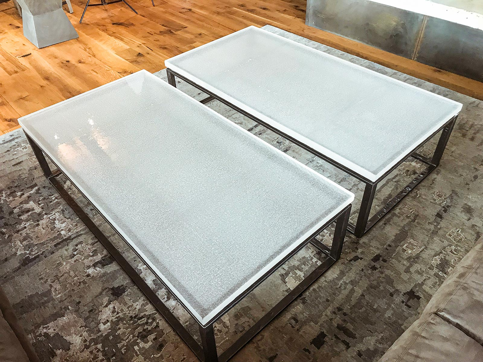 Granby Mountain Cast Coffee Glass Tables with Forged Bases