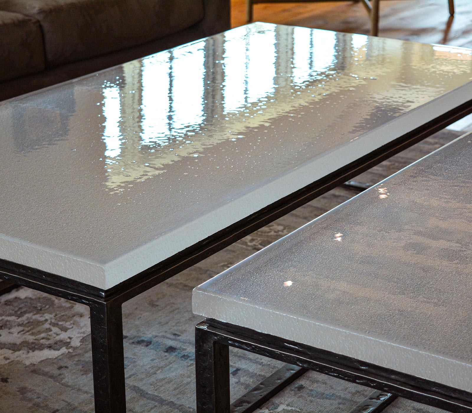 Granby Mountain Cast Glass and Forged Steel Coffee Tables