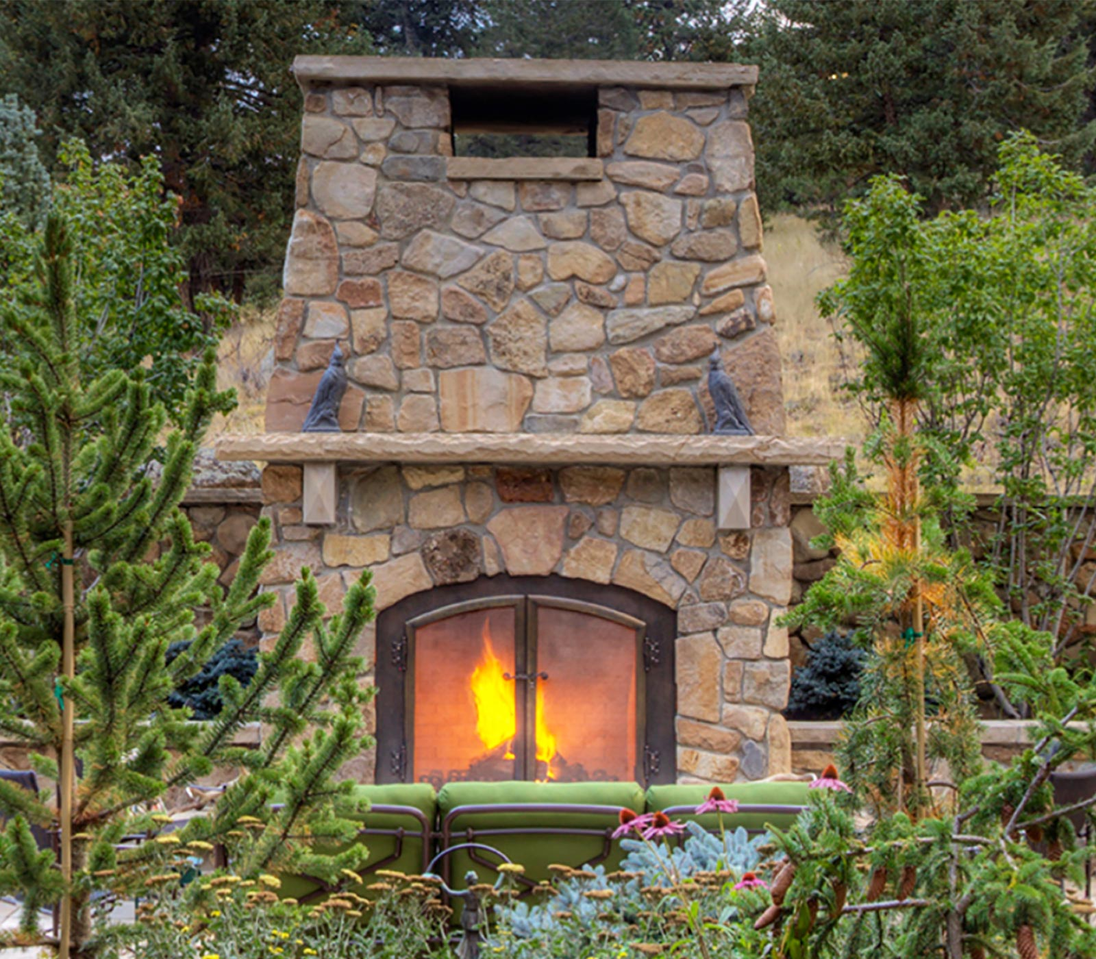 Evergreen Forged Solid Bronze Fireplace Doors