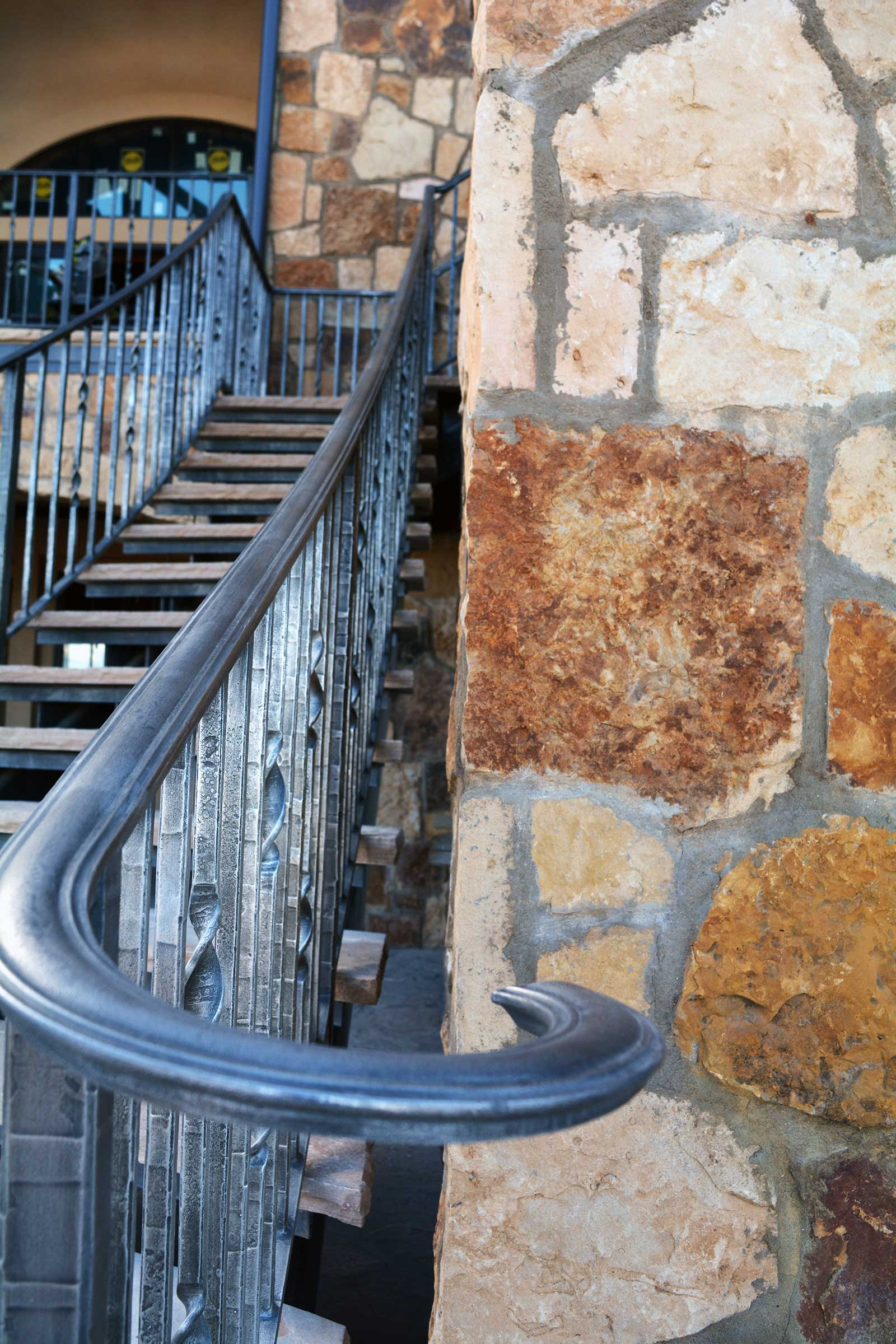 Exterior Stairs and Railing Handforged Steel Rails and Stairs